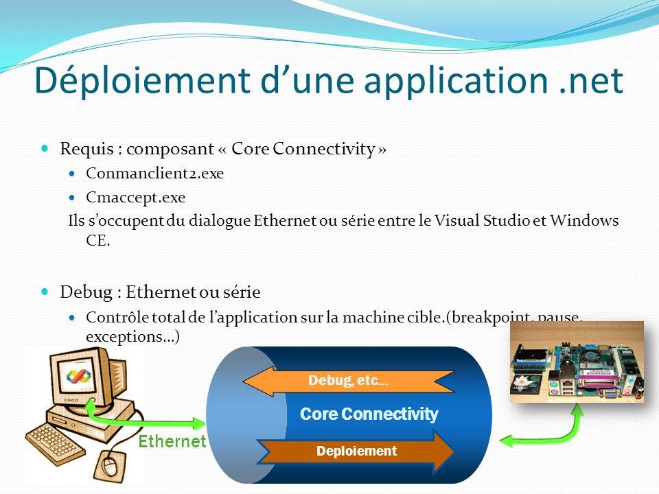 Déploiement dune application.net Requis : composant « Core Connectivity » Conmanclient2.exe Cmaccept.exe Ils soccupent du dialogue Ethernet ou série e
