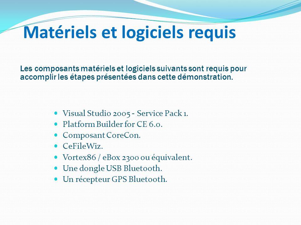 Matériels et logiciels requis Visual Studio 2005 - Service Pack 1. Platform Builder for CE 6.0. Composant CoreCon. CeFileWiz. Vortex86 / eBox 2300 ou