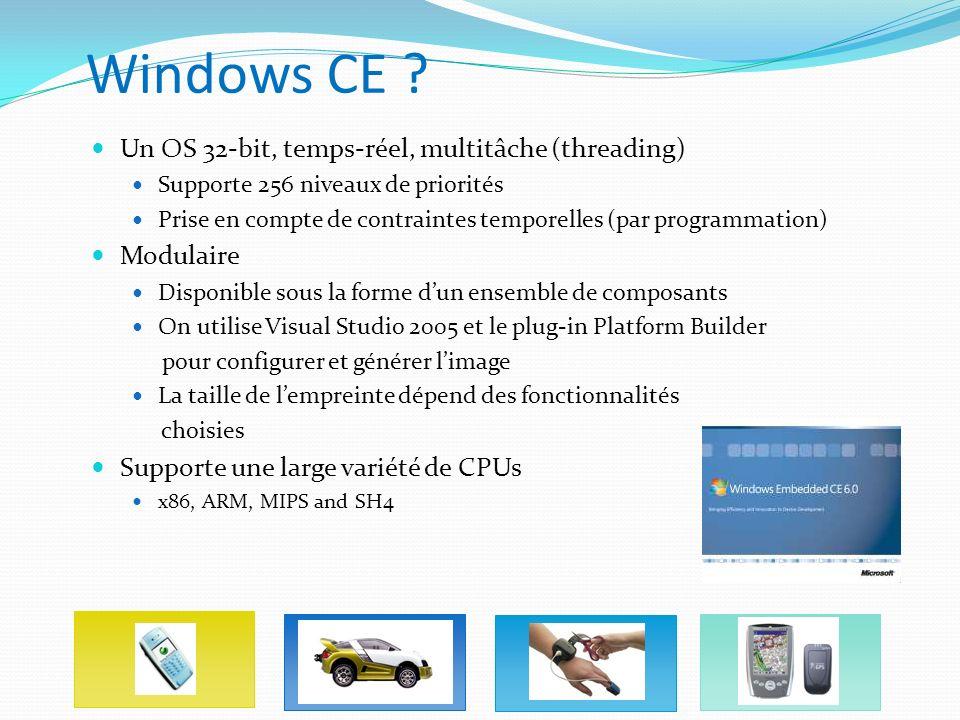 Windows CE ? Un OS 32-bit, temps-réel, multitâche (threading) Supporte 256 niveaux de priorités Prise en compte de contraintes temporelles (par progra