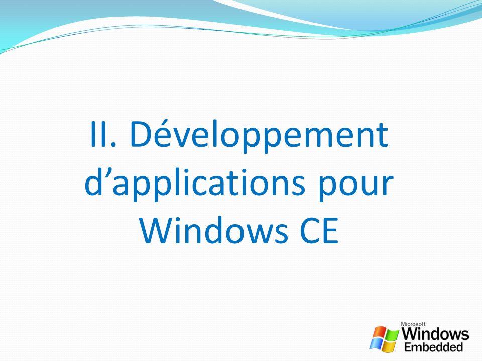 II. Développement dapplications pour Windows CE