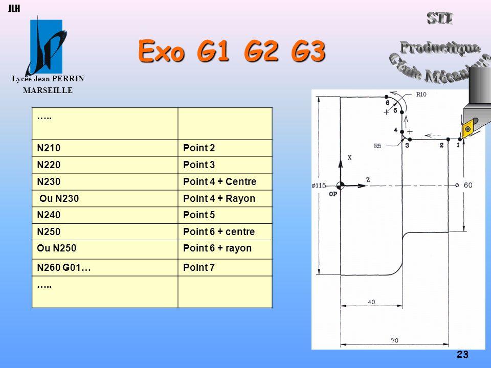 Lycée Jean PERRIN MARSEILLE 23 JLH Exo G1 G2 G3 ….. N210Point 2 N220Point 3 N230Point 4 + Centre Ou N230Point 4 + Rayon N240Point 5 N250Point 6 + cent
