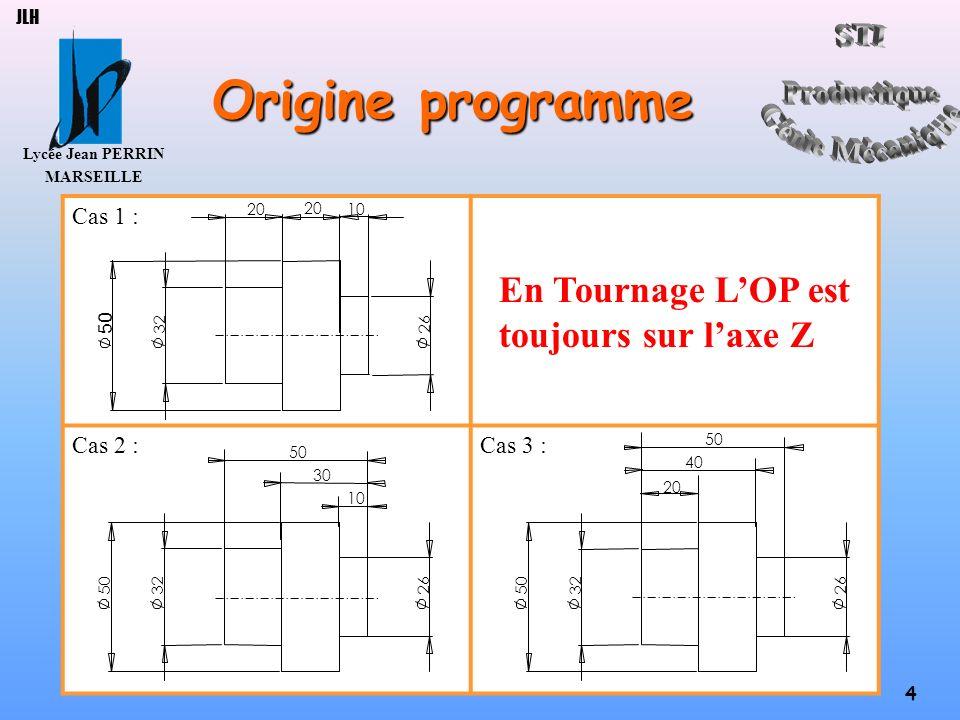 Lycée Jean PERRIN MARSEILLE 4 JLH Origine programme Cas 1 : En Tournage LOP est toujours sur laxe Z Cas 2 :Cas 3 : 32 20 26 10 3250 30 26 50 10 32 40
