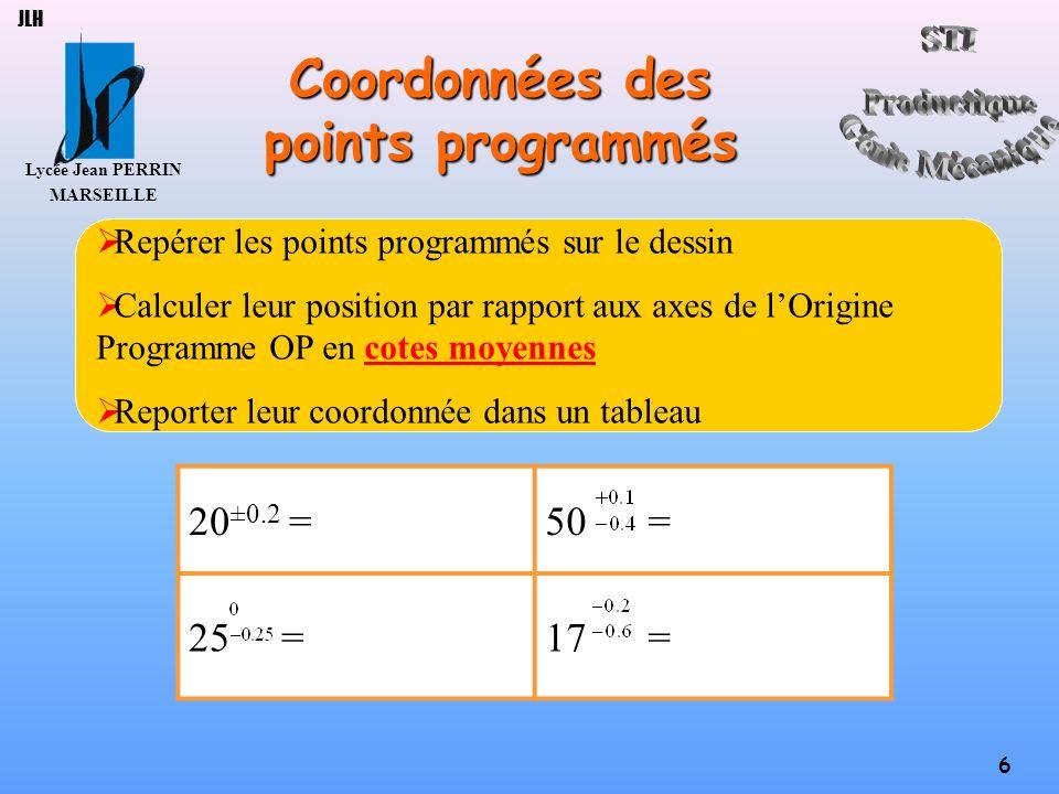 Lycée Jean PERRIN MARSEILLE 17 JLH Principales actions ActionsSyntaxes Commencer un programme % (fichier : …) (auteur : …) (date :…) (pièce : …) (phase : …) Initialiser N…M5M9G90G40G80 Aller au point de changement doutil N…G0G52X…Z… Appeler loutil et son correcteur N…T…D…M6 Aller au point dapproche N…G0X…Z… Paramètres de coupe Mettre en route la broche N…G97S…M..M..