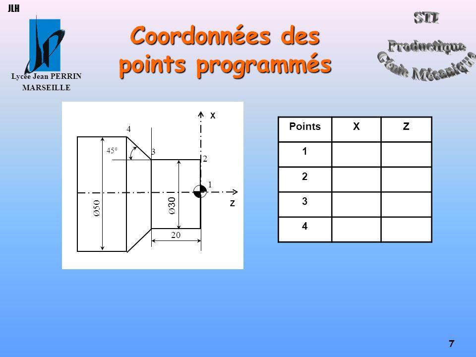 Lycée Jean PERRIN MARSEILLE 18 JLH Principales actions Ebaucher cycle paraxial N…G64N…N…I…K… P… N…XiZi N…XjZj N…XkZk (N=numéro du dernier bloc du profil) (N=numéro du premier bloc du profil) (I=surépaisseur de finition sur X) (K=surépaisseur de finition sur Z) (P=profondeur de passe) (Xi,Zi=1 er point limite du brut) (Xj,Zj=2 eme point limite du brut) (Xk,Zk=3 eme point limite du brut) Usiner à droite profil N…G1G42X…Z… Usiner à gauche profil N…G1G41X…Z… Percer N…G83Z…ER…P… Q… G95 (Z=cote de fond du trou) (ER=cote de plan de retrait) (P=profondeur de passe) (Q=profondeur de la dernière passe) Clore le cycle N…G80X…Z… Clore le programme N…M2