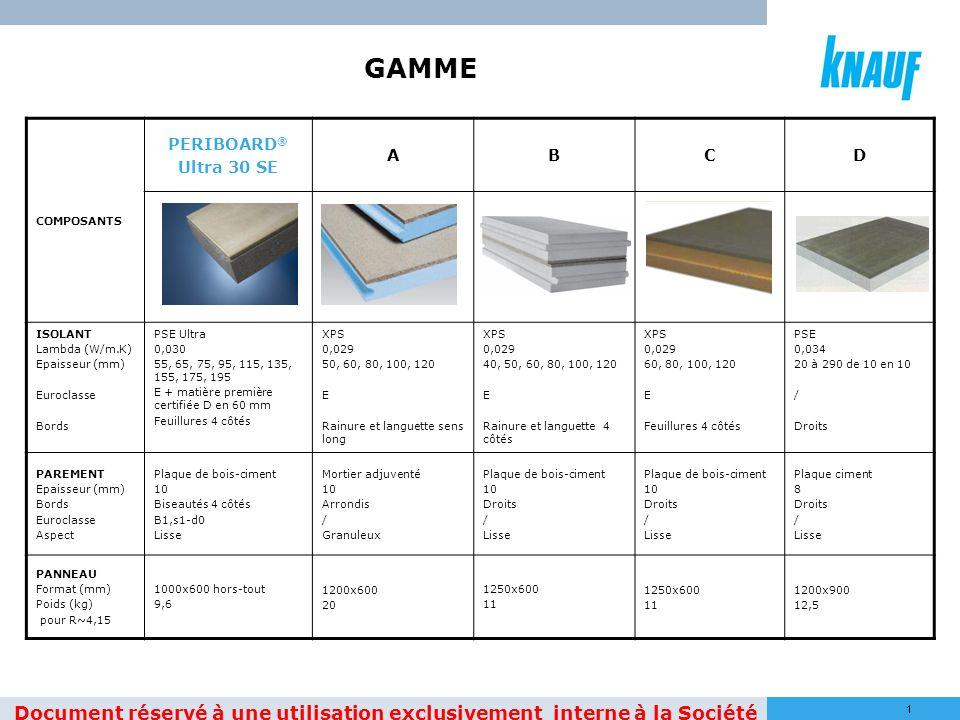 11 COMPOSANTS PERIBOARD ® Ultra 30 SE ABCD ISOLANT Lambda (W/m.K) Epaisseur (mm) Euroclasse Bords PSE Ultra 0,030 55, 65, 75, 95, 115, 135, 155, 175,