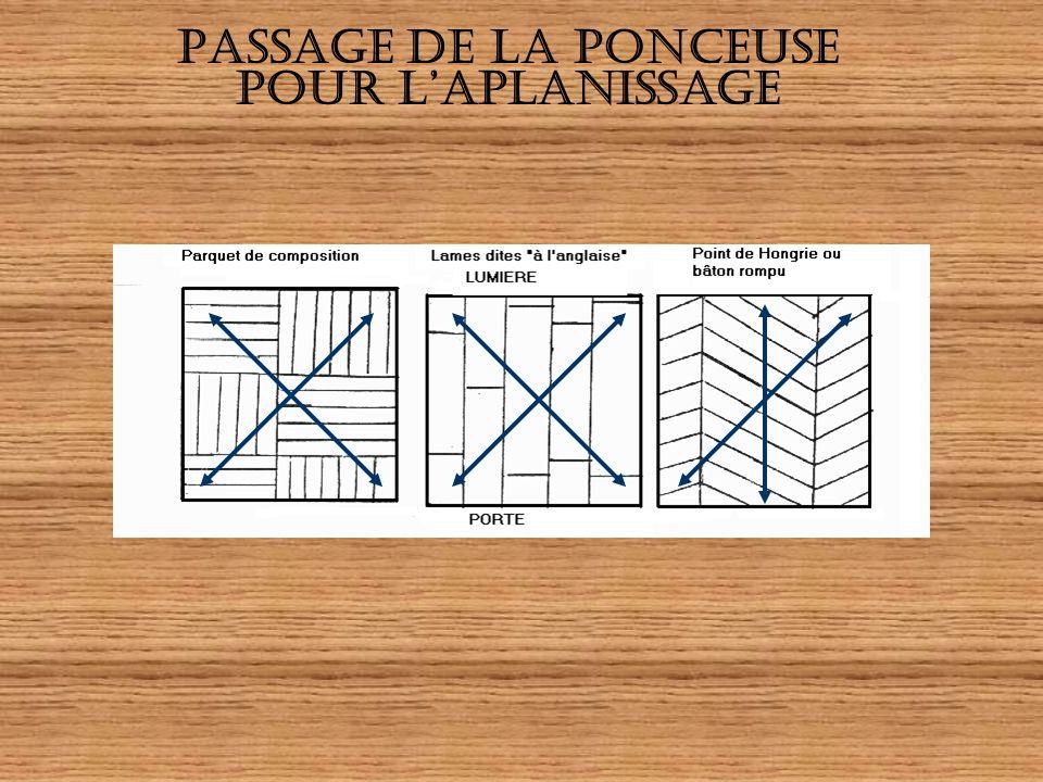 LAPLANISSAGE METHODEMATERIELS Aspirer Chasser ou retire les clous Poncer à contre fil du bois sur plusieurs lames : deux passages obligatoires Faire l