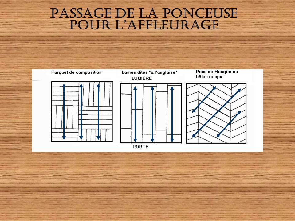 LAFFLEURAGE METHODEMATERIELS Aspirer Chasser ou retire les clous Poncer dans le sens du fil du bois ou vers la partie la plus lumineuse : un ou plusie