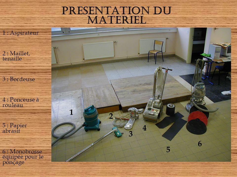 PRESENTATION DU MATERIEL 1 1 : Aspirateur 2 : Maillet, tenaille 3 : Bordeuse 4 : Ponceuse à rouleau 5 : Papier abrasif 6 : Monobrosse équipée pour le ponçage 2 3 4 5 6