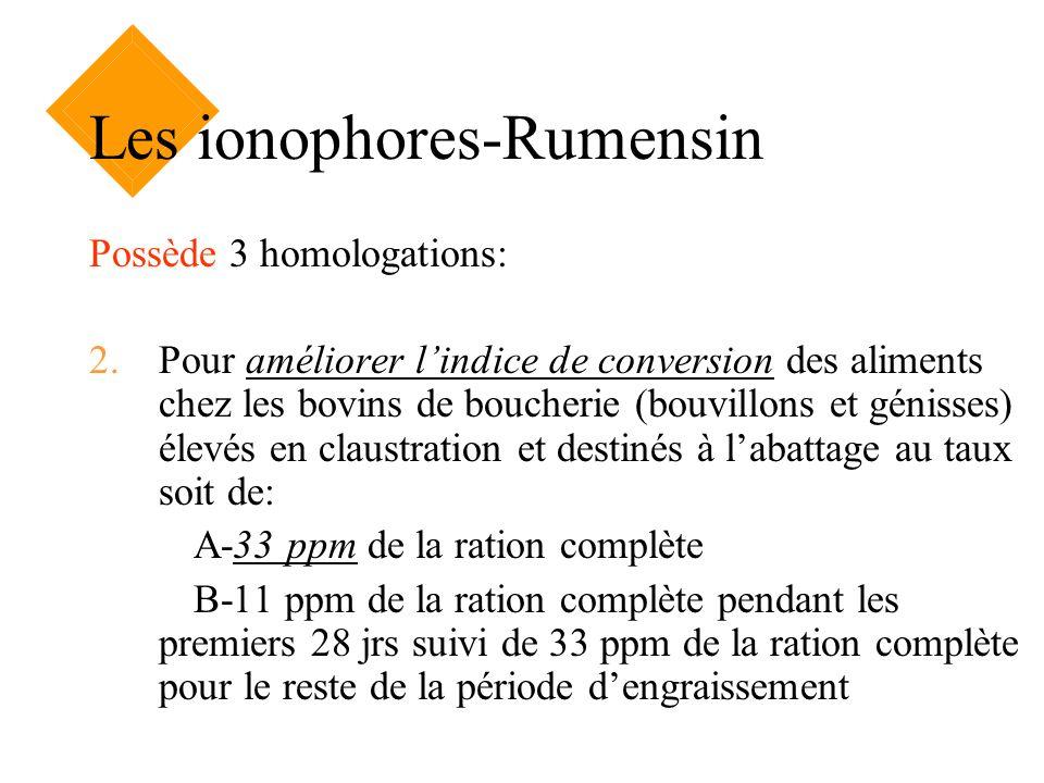 Les ionophores-Rumensin Possède 3 homologations: 2.Pour améliorer lindice de conversion des aliments chez les bovins de boucherie (bouvillons et génis