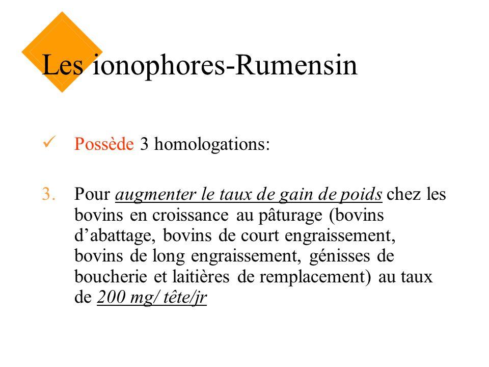 Les ionophores-Rumensin Possède 3 homologations: 3.Pour augmenter le taux de gain de poids chez les bovins en croissance au pâturage (bovins dabattage
