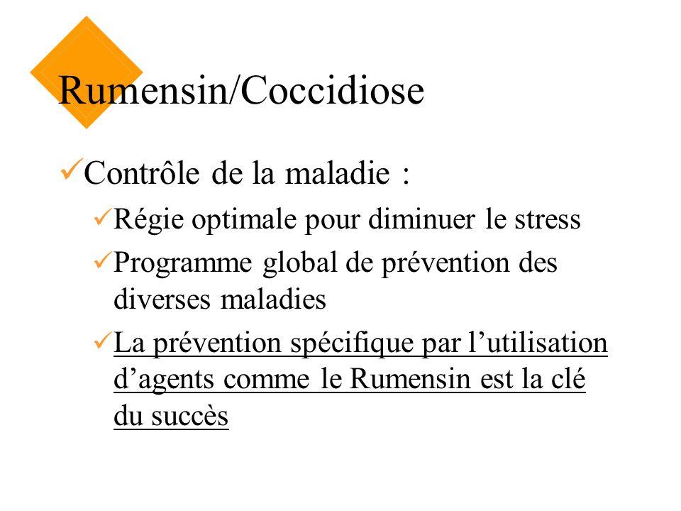 Rumensin/Coccidiose Contrôle de la maladie : Régie optimale pour diminuer le stress Programme global de prévention des diverses maladies La prévention