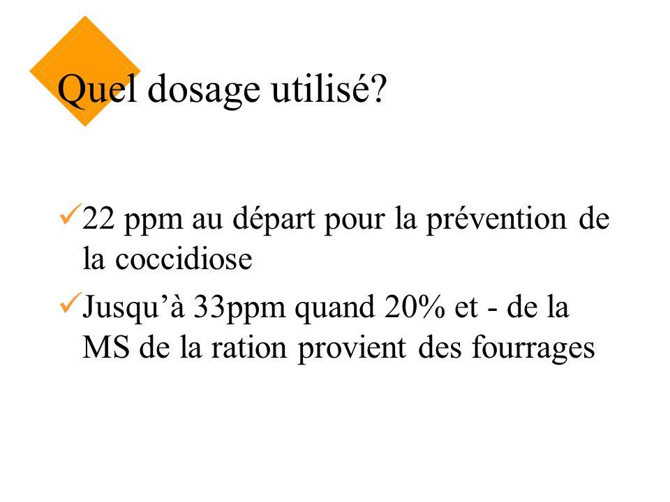 Quel dosage utilisé? 22 ppm au départ pour la prévention de la coccidiose Jusquà 33ppm quand 20% et - de la MS de la ration provient des fourrages