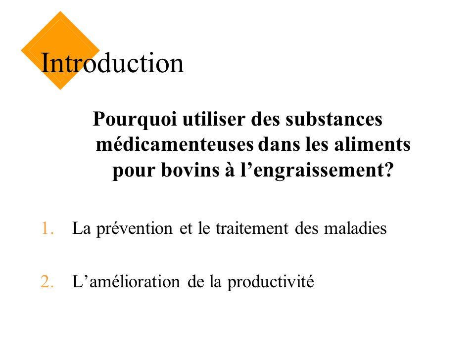 Introduction Pourquoi utiliser des substances médicamenteuses dans les aliments pour bovins à lengraissement? 1.La prévention et le traitement des mal