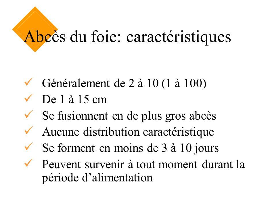 Abcès du foie: caractéristiques Généralement de 2 à 10 (1 à 100) De 1 à 15 cm Se fusionnent en de plus gros abcès Aucune distribution caractéristique