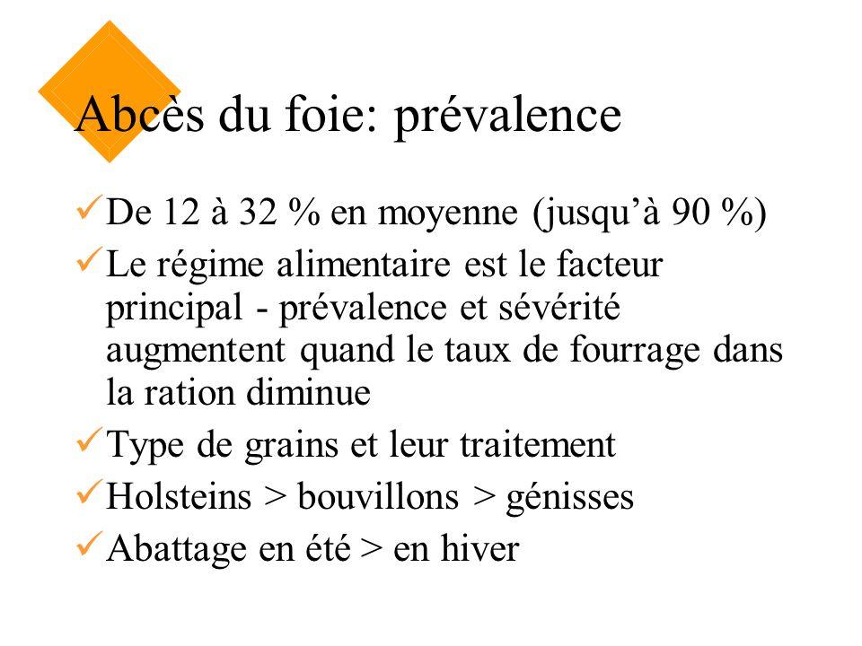 Abcès du foie: prévalence De 12 à 32 % en moyenne (jusquà 90 %) Le régime alimentaire est le facteur principal - prévalence et sévérité augmentent qua