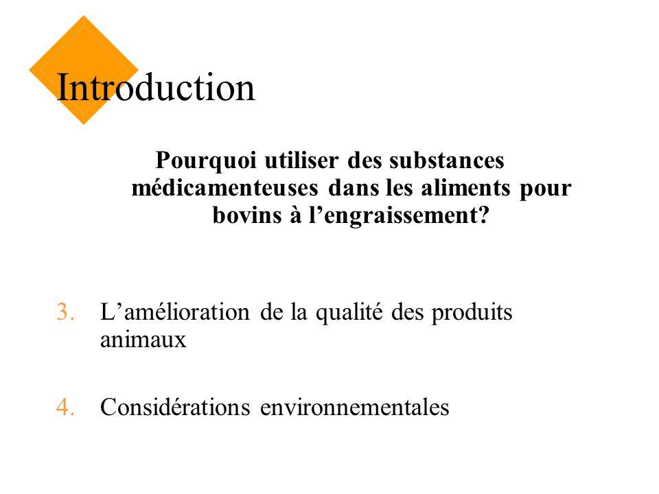 Introduction Pourquoi utiliser des substances médicamenteuses dans les aliments pour bovins à lengraissement? 3.Lamélioration de la qualité des produi