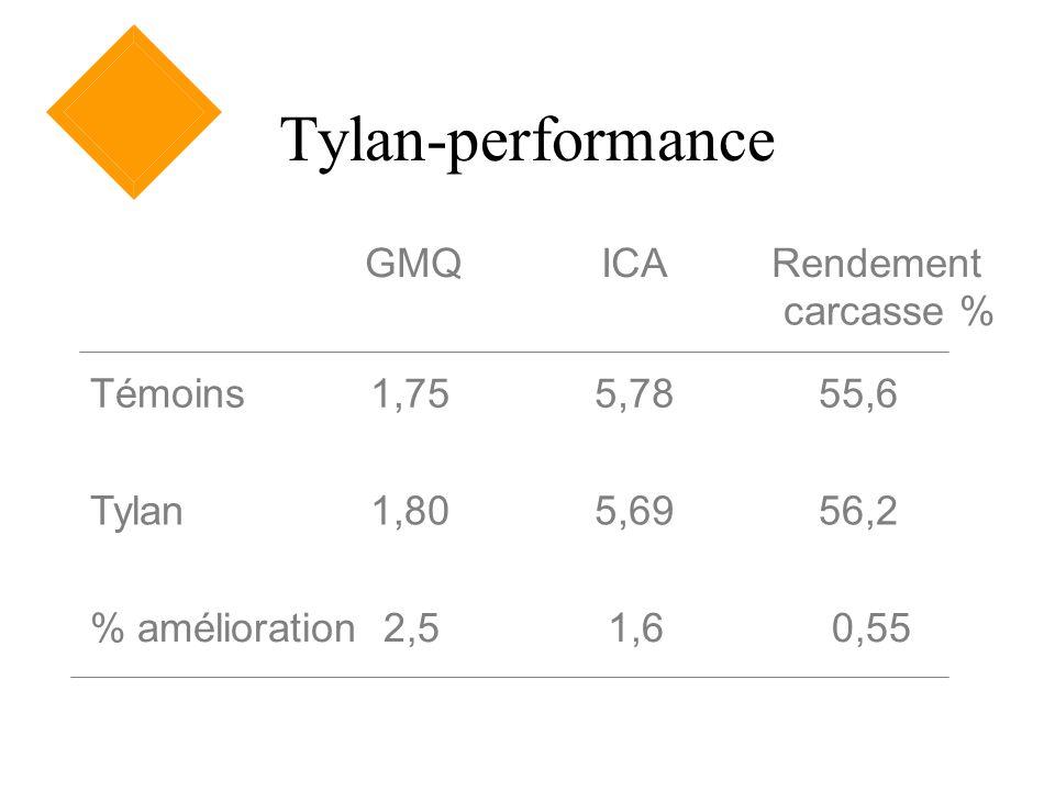 Tylan-performance GMQICARendement carcasse % Témoins1,755,7855,6 Tylan1,805,6956,2 % amélioration2,51,60,55