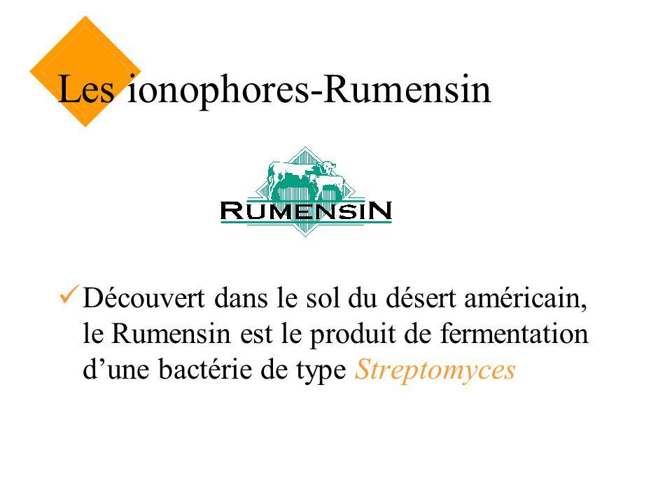Les ionophores-Rumensin Découvert dans le sol du désert américain, le Rumensin est le produit de fermentation dune bactérie de type Streptomyces