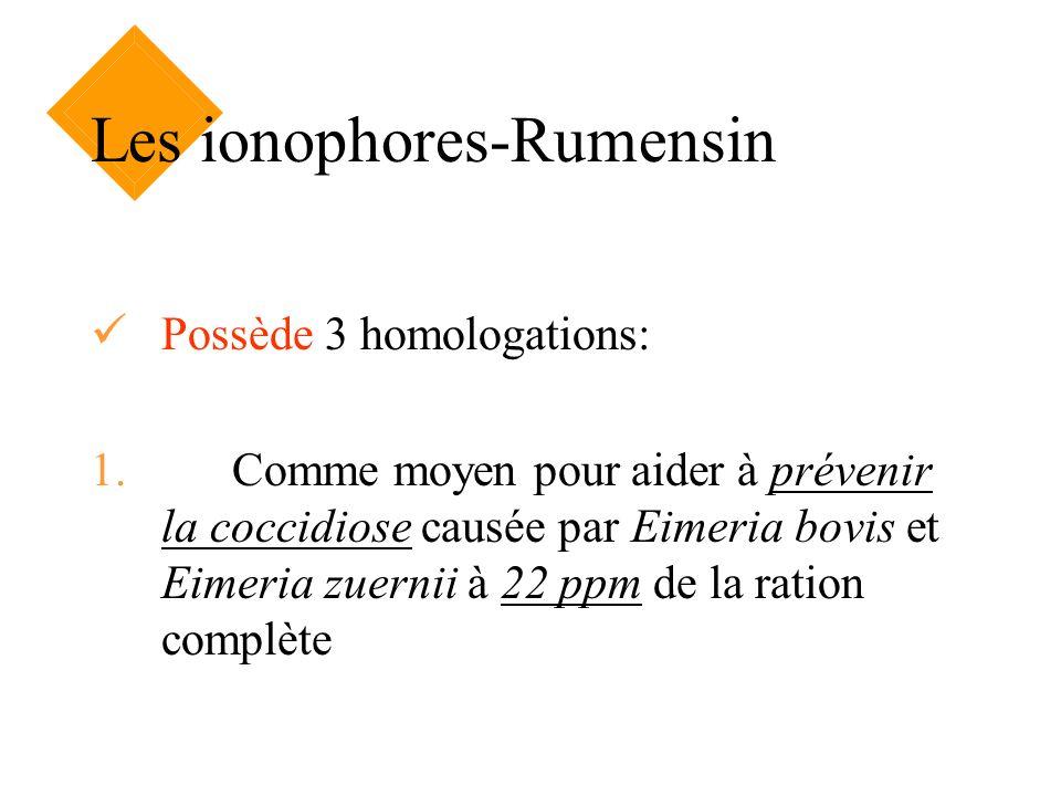 Les ionophores-Rumensin Possède 3 homologations: 1. Comme moyen pour aider à prévenir la coccidiose causée par Eimeria bovis et Eimeria zuernii à 22 p