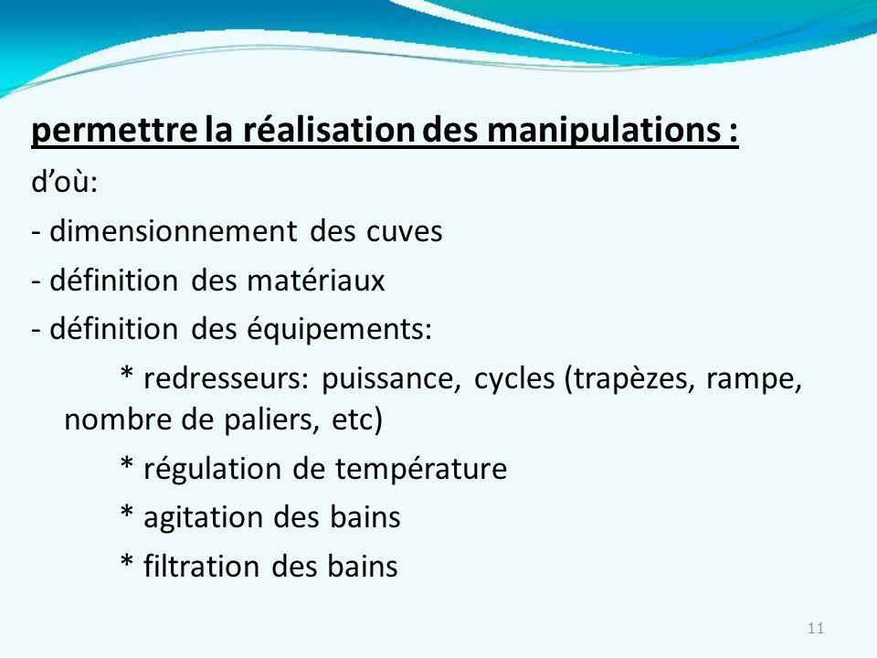 11 permettre la réalisation des manipulations : doù: - dimensionnement des cuves - définition des matériaux - définition des équipements: * redresseur