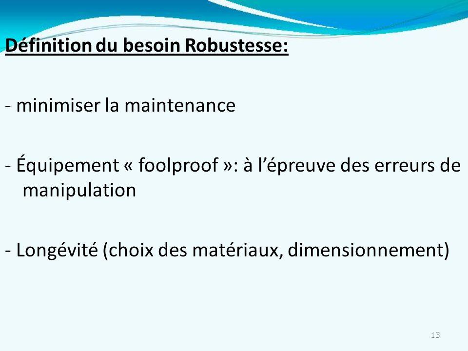 13 Définition du besoin Robustesse: - minimiser la maintenance - Équipement « foolproof »: à lépreuve des erreurs de manipulation - Longévité (choix d
