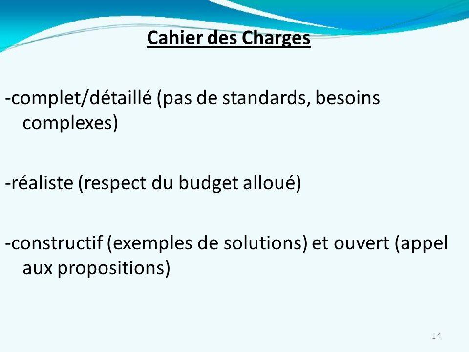 14 Cahier des Charges -complet/détaillé (pas de standards, besoins complexes) -réaliste (respect du budget alloué) -constructif (exemples de solutions