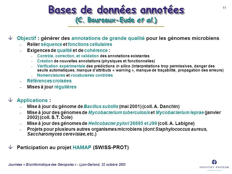 Journées « Bioinformatique des Génopoles » - Lyon-Gerland, 22 octobre 2003 11 Bases de données annotées (C. Boursaux-Eude et al.) âObjectif : générer