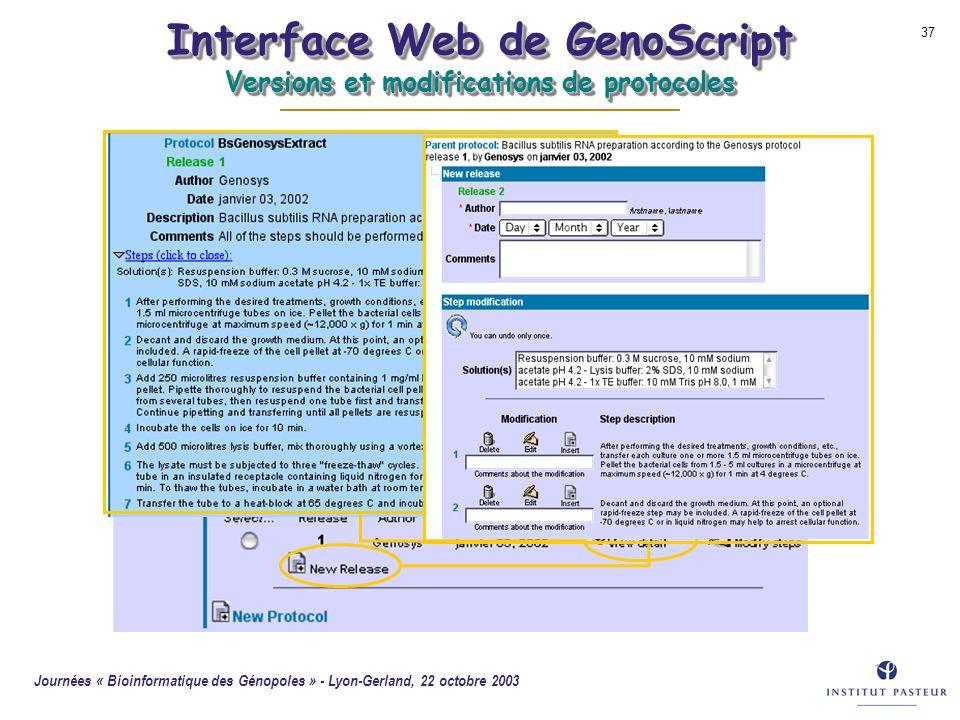 Journées « Bioinformatique des Génopoles » - Lyon-Gerland, 22 octobre 2003 37 Interface Web de GenoScript Versions et modifications de protocoles