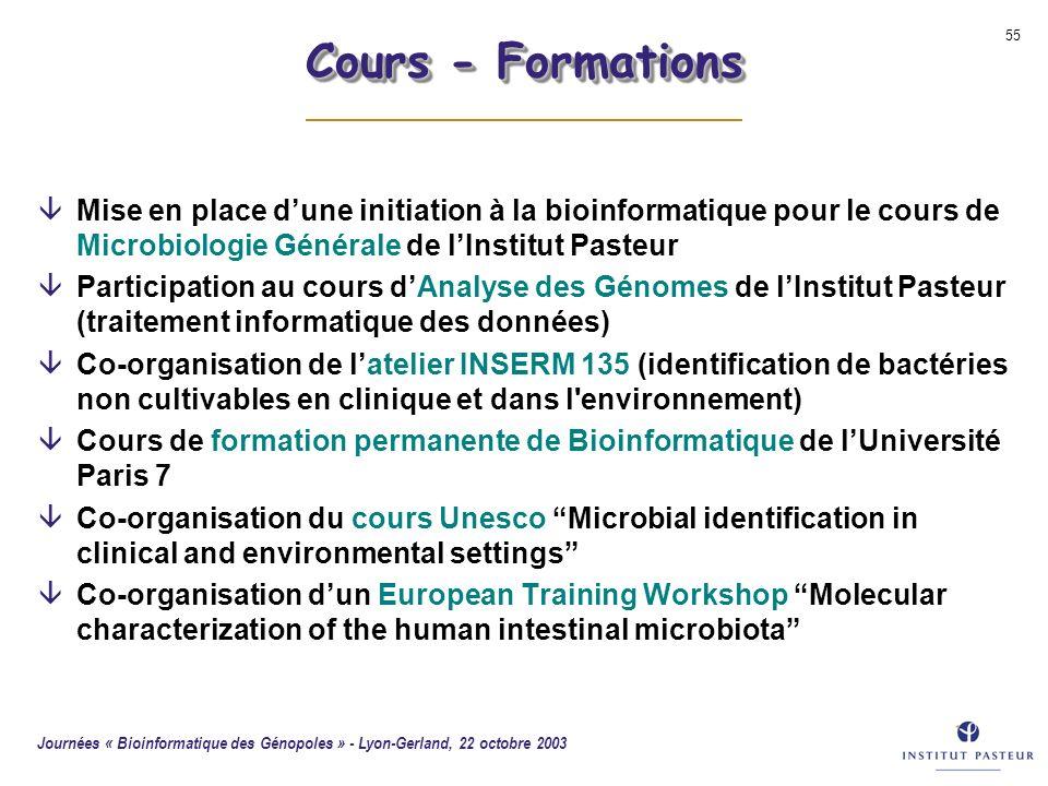Journées « Bioinformatique des Génopoles » - Lyon-Gerland, 22 octobre 2003 55 Cours - Formations âMise en place dune initiation à la bioinformatique p