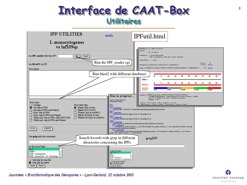 Journées « Bioinformatique des Génopoles » - Lyon-Gerland, 22 octobre 2003 8 Interface de CAAT-Box Utilitaires