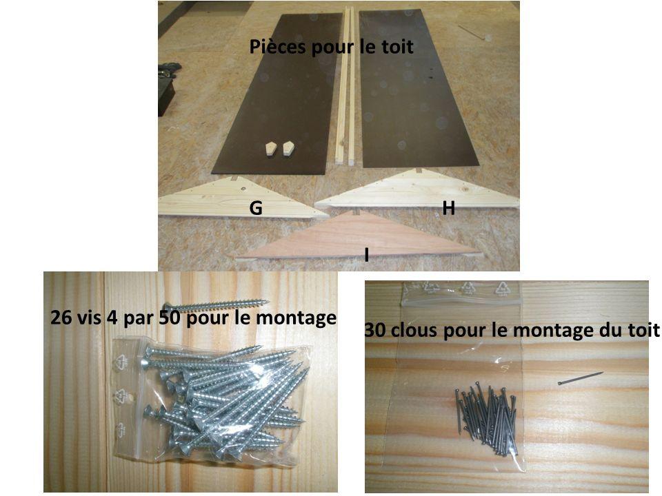 GH I Pièces pour le toit 26 vis 4 par 50 pour le montage 30 clous pour le montage du toit