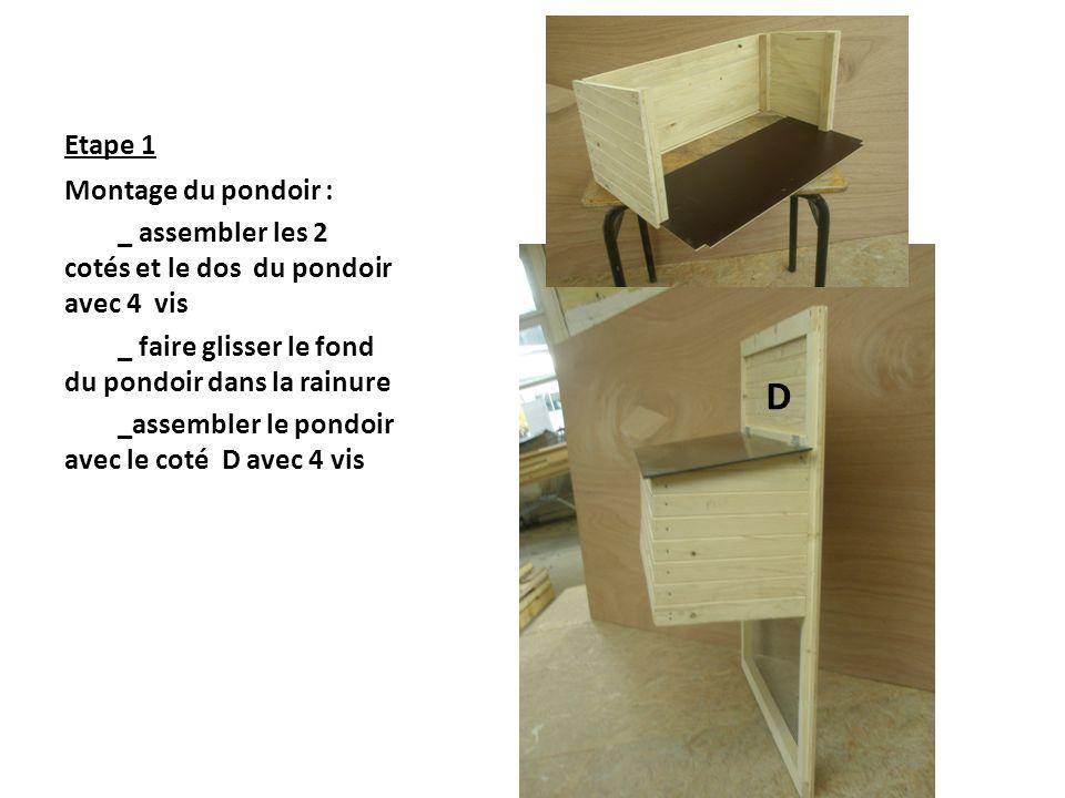 Etape 1 Montage du pondoir : _ assembler les 2 cotés et le dos du pondoir avec 4 vis _ faire glisser le fond du pondoir dans la rainure _assembler le