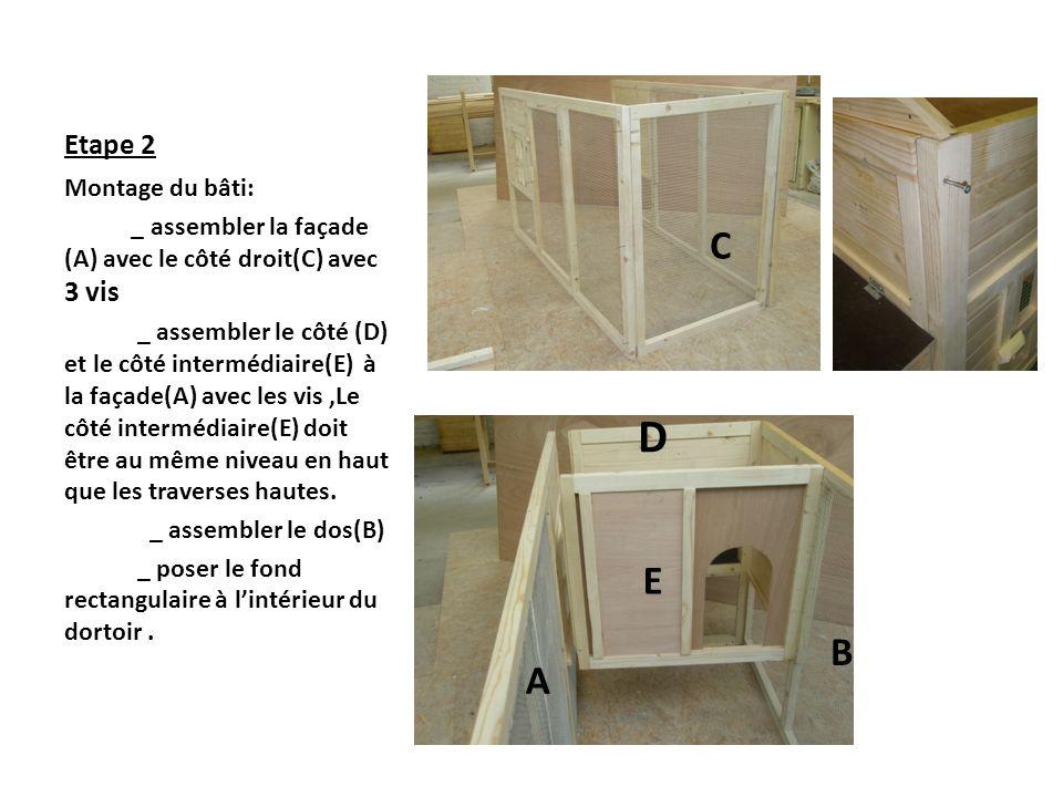 Etape 2 Montage du bâti: _ assembler la façade (A) avec le côté droit(C) avec 3 vis _ assembler le côté (D) et le côté intermédiaire(E) à la façade(A)
