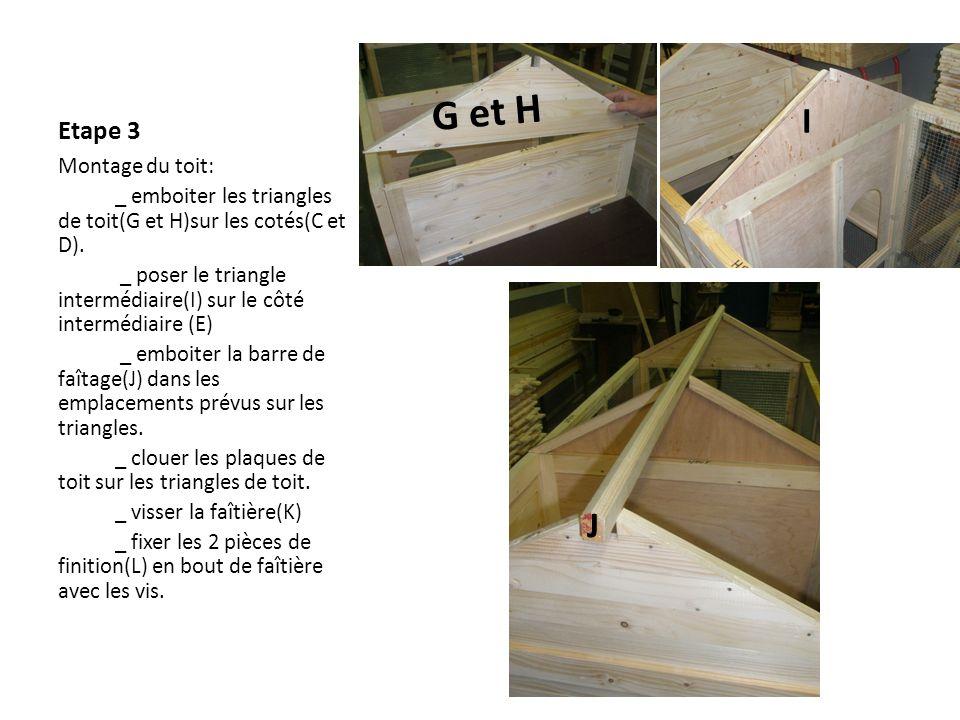 Photos pour le montage du toit 1 mettre la pièce J dans les pignons, 2 poser les plaques de toit 3 clouer les plaques de toit sur les pignons (G,H et J) 4 clouer la faîtière 5 visser les finitions de faîtière 1 2 34 5