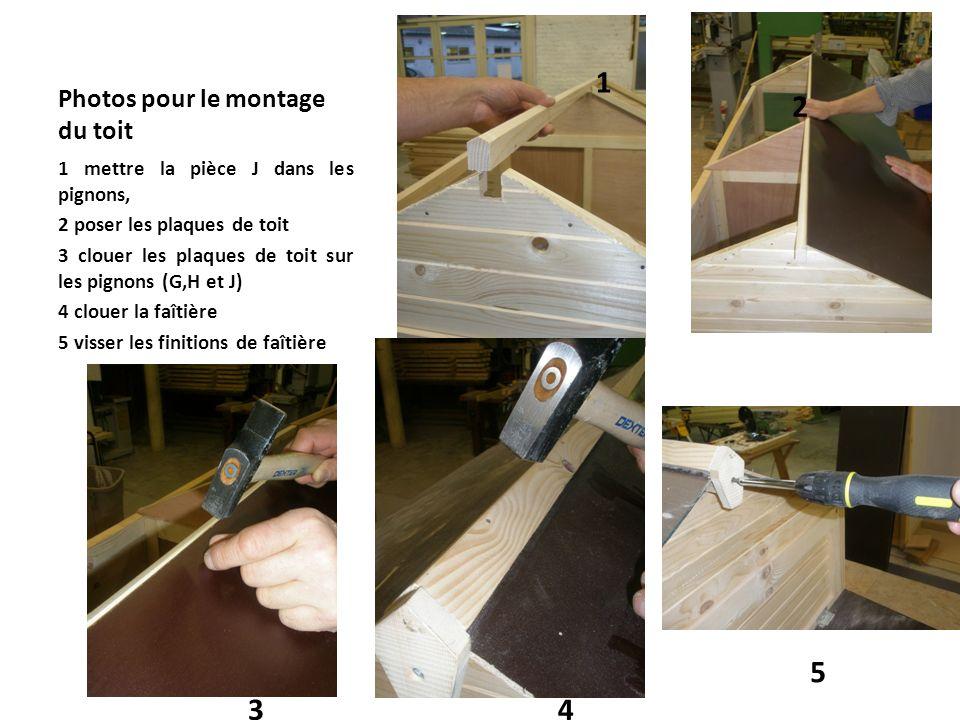 Photos pour le montage du toit 1 mettre la pièce J dans les pignons, 2 poser les plaques de toit 3 clouer les plaques de toit sur les pignons (G,H et