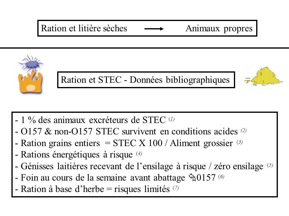 STEC Fourrage grossier Herbe Foin avant abattage Grains entiers Ration énergétique Acidose Ensilage Bactériophages (virus) (8) Probiotiques (Lactobacillus acidophilus) (9) Vaccination (10)