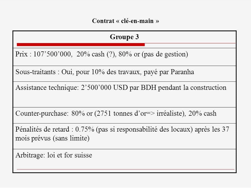 Contrat « clé-en-main » Groupe 3 Prix : 107500000, 20% cash (?), 80% or (pas de gestion) Sous-traitants : Oui, pour 10% des travaux, payé par Paranha