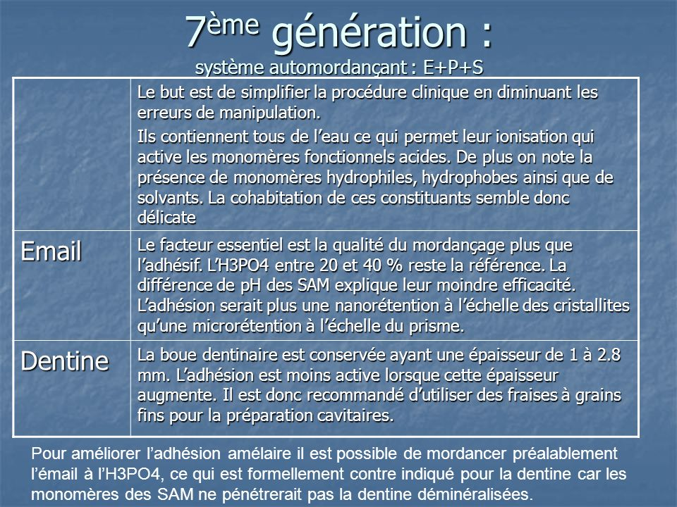 5 ème génération : 2 Flacons : etching et primer + sealer dans 1 même flacon Etching Pareil que la 4 ième génération : H3PO4 : Ok sur lémail et toujou