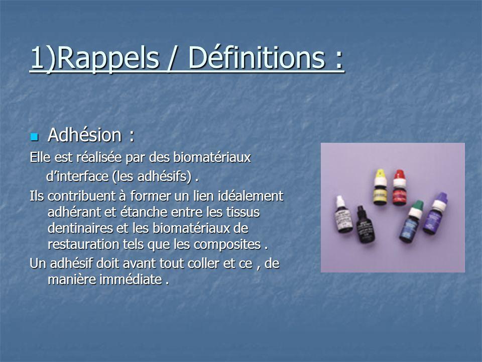 1)Rappels / Définitions : Adhésion : Adhésion : Elle est réalisée par des biomatériaux dinterface (les adhésifs).