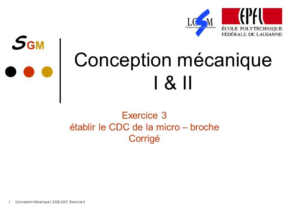 S GMS GM Conception Mécanique I, 2006-2007, Exercice 31 Conception mécanique I & II Exercice 3 établir le CDC de la micro – broche Corrigé