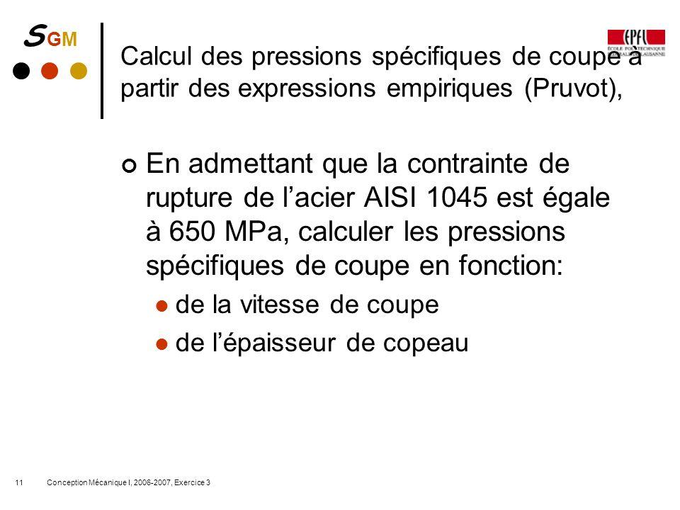 S GMS GM Conception Mécanique I, 2006-2007, Exercice 311 Calcul des pressions spécifiques de coupe à partir des expressions empiriques (Pruvot), En ad