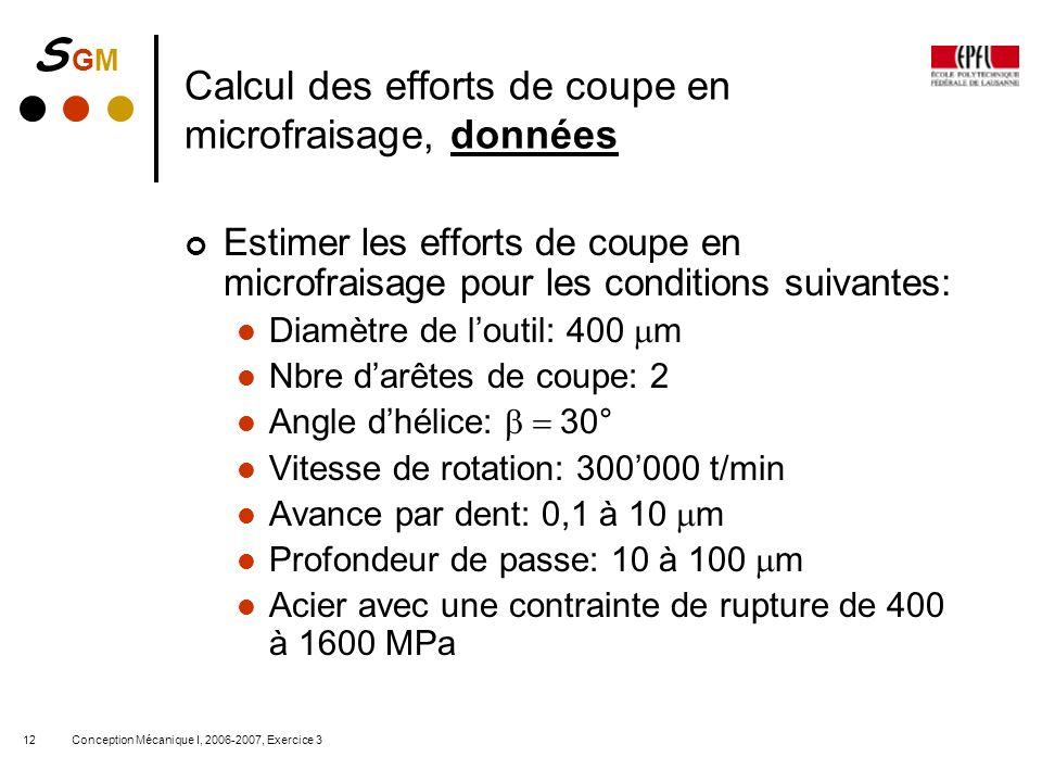 S GMS GM Conception Mécanique I, 2006-2007, Exercice 312 Calcul des efforts de coupe en microfraisage, données Estimer les efforts de coupe en microfr