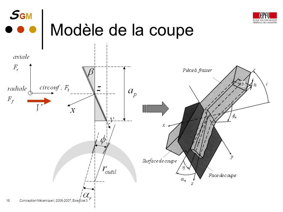 S GMS GM Conception Mécanique I, 2006-2007, Exercice 316 Modèle de la coupe