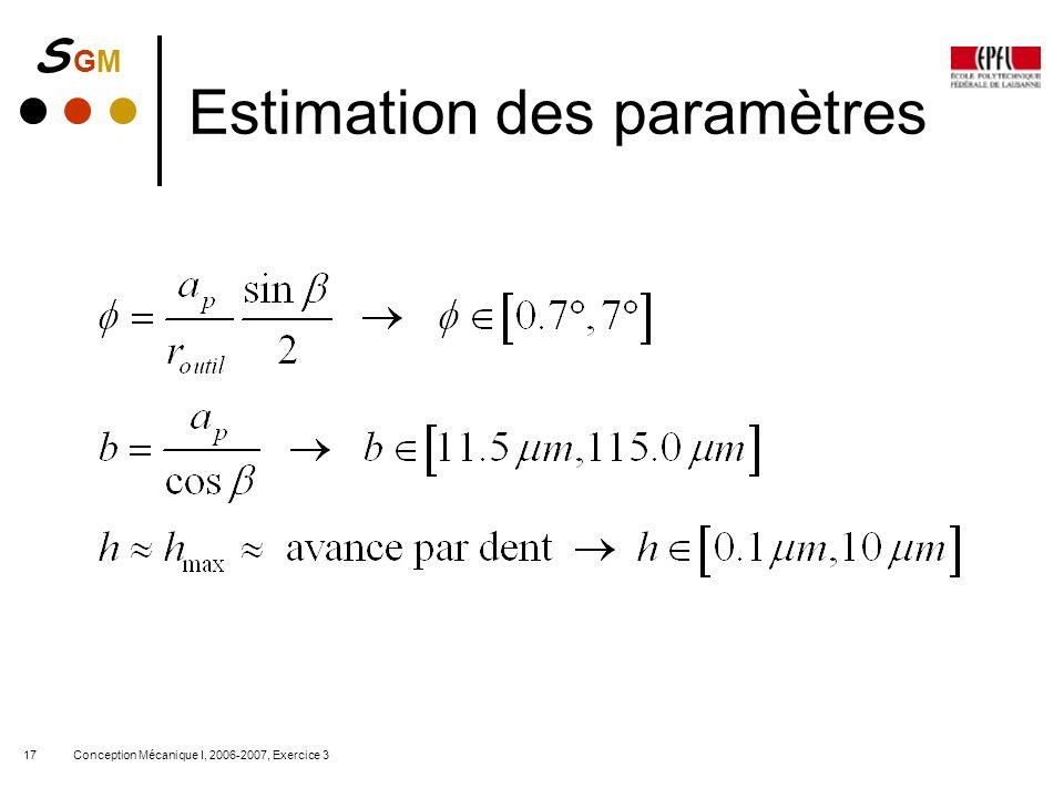 S GMS GM Conception Mécanique I, 2006-2007, Exercice 317 Estimation des paramètres
