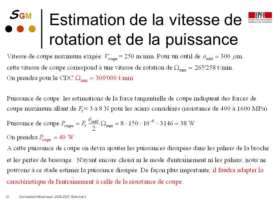 S GMS GM Conception Mécanique I, 2006-2007, Exercice 321 Estimation de la vitesse de rotation et de la puissance