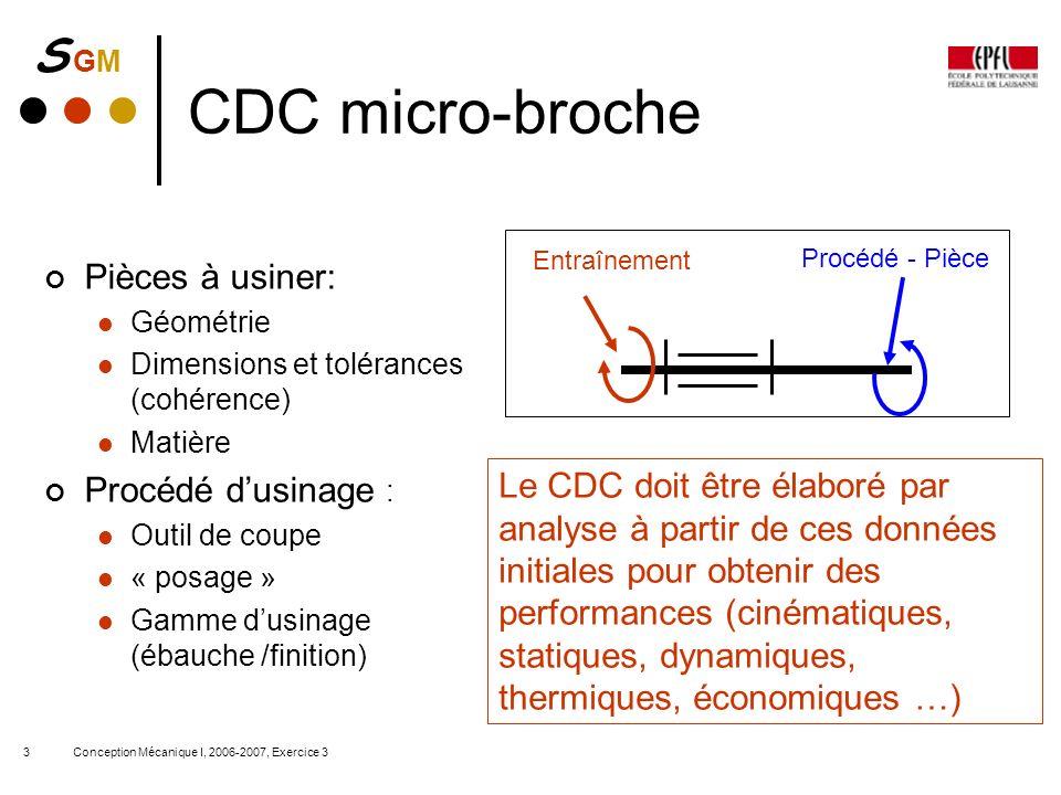S GMS GM Conception Mécanique I, 2006-2007, Exercice 33 CDC micro-broche Entraînement Procédé - Pièce Pièces à usiner: Géométrie Dimensions et toléran