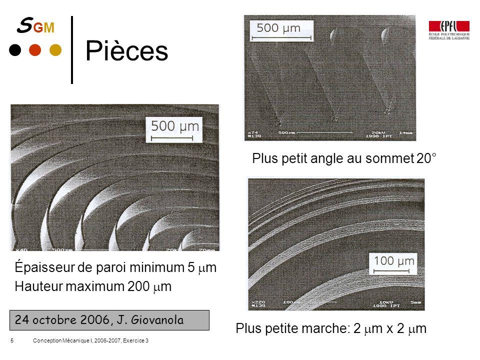 S GMS GM Conception Mécanique I, 2006-2007, Exercice 35 Pièces Épaisseur de paroi minimum 5 m Hauteur maximum 200 m Plus petite marche: 2 m x 2 m Plus