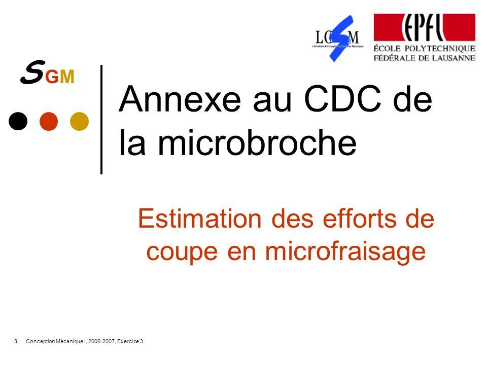 S GMS GM Conception Mécanique I, 2006-2007, Exercice 38 Annexe au CDC de la microbroche Estimation des efforts de coupe en microfraisage