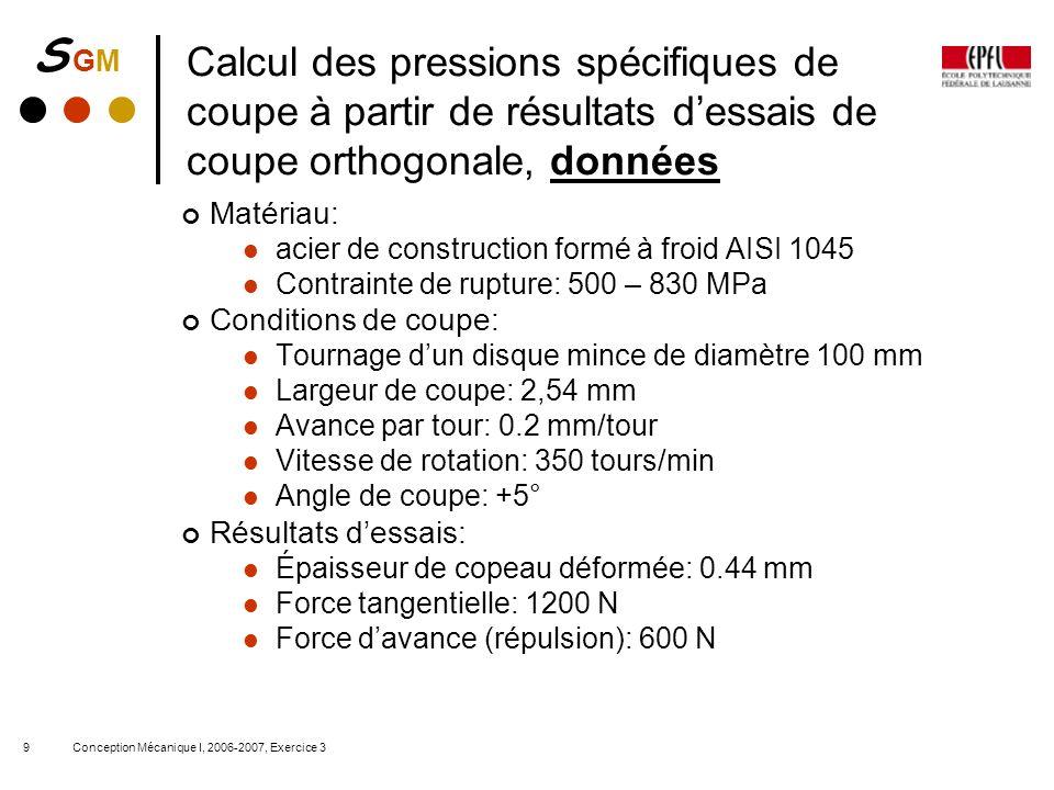 S GMS GM Conception Mécanique I, 2006-2007, Exercice 39 Calcul des pressions spécifiques de coupe à partir de résultats dessais de coupe orthogonale,
