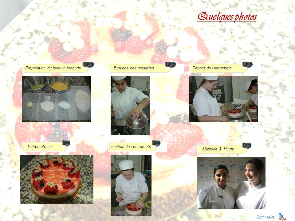 Quelques photos Sommaire Préparation du biscuit JocondeBroyage des noisettes Entremets fini Décors de lentremets Finition de lentremets Mathilde & Hin